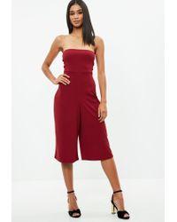 f58c6094e6fa Lyst - Missguided Burgundy Bandeau Culotte Jumpsuit in Red