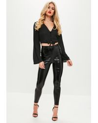 Missguided Black Button Detail Tie Front Crop Top