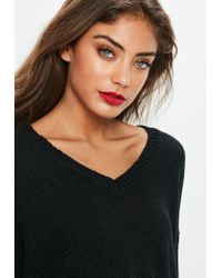 Missguided - Black V Front Plunge Tape Yarn Cropped Jumper - Lyst