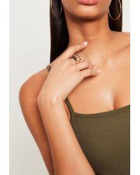 Missguided - Metallic Gold Diamante Statement Ring - Lyst