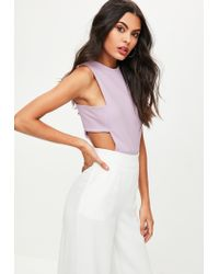 Missguided - Purple Tall Lilac Tab Side Bodysuit - Lyst
