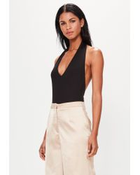 Missguided Peace + Love Premium Black Halterneck Bodysuitâ