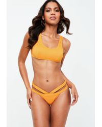 420a0eb504cb4 Lyst - Missguided Orange Strappy Bikini Set in Orange