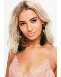 Missguided | Black Pom Pom Tassel Earrings | Lyst