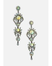 Missguided - Metallic Silver Holographic Diamante Statement Earrings - Lyst