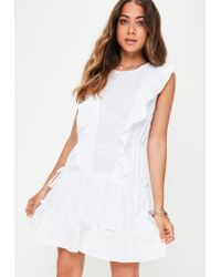 458e095e681 Missguided White Broderie Anglais Mini Dress in White - Lyst