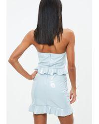 Missguided - Gray Grey Vinyl Peplum Dress - Lyst