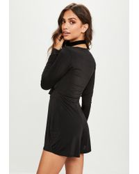 Missguided - Black Frill Slinky Playsuit - Lyst