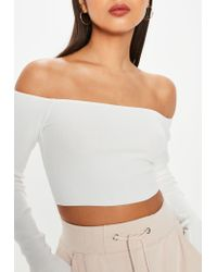 Missguided - White Bardot Crop Knitted Top - Lyst