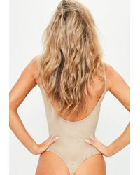 Missguided - Natural Nude Faux Suede Scooped Back Bodysuit - Lyst