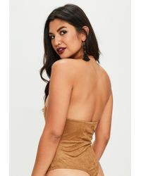 Missguided - Brown Lace Up Suede Bodysuit - Lyst
