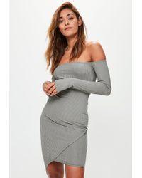 Missguided - Gray Bardot Bodycon Midi Dress - Lyst