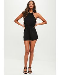 Missguided - Black Pom Pom Jersey Playsuit - Lyst