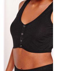 Missguided - Black Ribbed Pyjama Set - Lyst