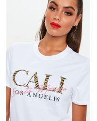 Missguided - White Cali Zebra Graphic T-shirt - Lyst