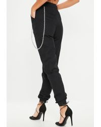 Missguided - Black Chain Detail Cargo Trousers - Lyst