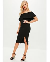 Missguided - Black One Shoulder Midi Dress - Lyst