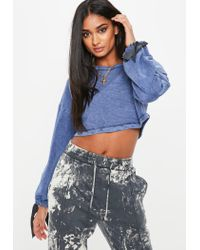 Missguided - Petite Blue Wash Cropped Sweater - Lyst