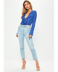 Missguided - Blue Long Sleeved Frill Wrap Bodysuit - Lyst
