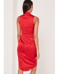 Missguided - Silky Choker Midi Dress Red - Lyst