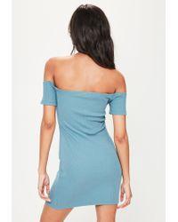 Missguided - Blue Bardot Ribbed Popper Mini Dress - Lyst