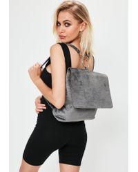 Missguided - Gray Grey Velvet Croc Pattern Backpack - Lyst