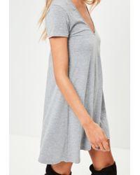 Missguided - Gray Grey Short Frilled Sleeve V Neck Mini Dress - Lyst