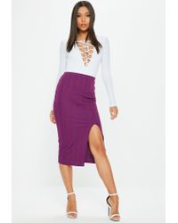 Missguided - Purple Bandage Side Split Midi Skirt - Lyst