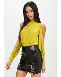 Lyst - Missguided Yellow Open Sleeve Bodysuit in Yellow 2d23ddf77