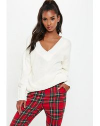 Missguided - White Knitted Oversized Cricket Jumper - Lyst