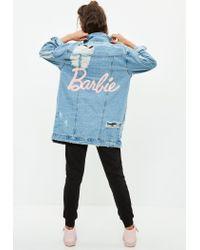 Missguided | Barbie X Blue Longer Length Denim Jacket | Lyst