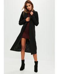 58c92edc80f8 Lyst - Missguided Tall Black Longline Faux Wool Duster Coat in Black
