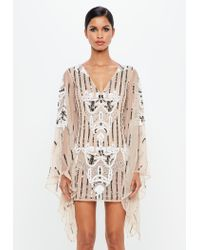 Lyst - Missguided Peace + Love Nude Kimono Sleeve Embellished Plunge ... 0a83974cf