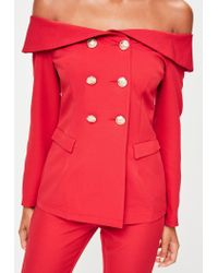 Missguided - Red Bardot Double Breasted Tailored Blazer - Lyst