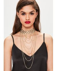 Missguided - Metallic Gold Statement Hanging Chain Choker Necklace - Lyst