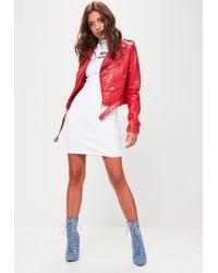 Missguided - White High Neck Sleeveless Rib Mini Dress - Lyst