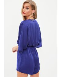 Missguided - Blue Hammered Satin Kimono Sleeve Playsuit - Lyst