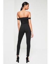 Missguided Black Bardot Strap Jumpsuit