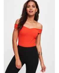 Missguided - Orange Bardot Crepe Bodysuit - Lyst