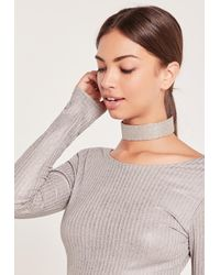 Missguided - Metallic Chunky Glitter Choker Necklace Silver - Lyst