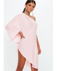 546f203bcd7ff Lyst - Missguided Blush One Shoulder Slinky Cape Dress in Pink