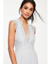 Missguided - Gray Grey Lace Sleeveless Plunge Jumpsuit - Lyst