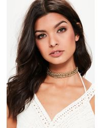 Missguided - Metallic Gold Chunky Chain Choker Necklace - Lyst