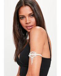 Missguided - Metallic Silver Diamante Arm Cuff - Lyst