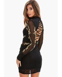Missguided - Black Cross Back Lace Mesh Dress - Lyst