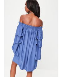 Missguided - Blue Layered Sleeve Bardot Shift Dress - Lyst