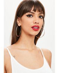 Missguided - Metallic Rose Gold Textured Hoop Earrings - Lyst
