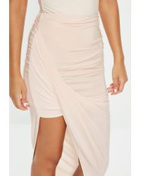 Missguided - Natural Nude Disco Slinky Midi Skirt - Lyst