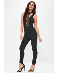 Missguided - Black Lace Panel High Neck Jumpsuit - Lyst