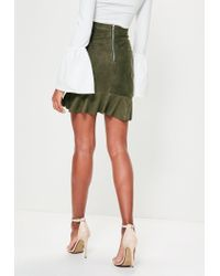 Missguided - Multicolor Khaki Faux Suede Ruffle Front Mini Skirt - Lyst